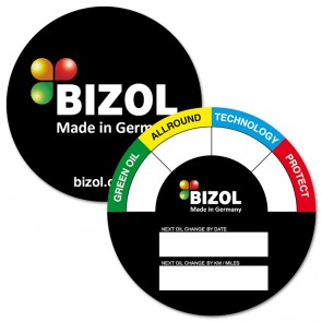 BIZOL Oil Change Sticker EN